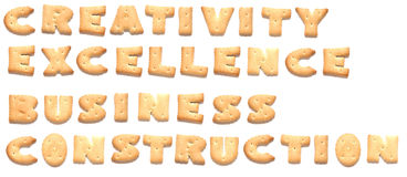 The words made of cookies. The words: creativity, excellence, business, construction made of cookies Royalty Free Stock Photo