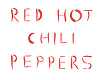 Words made from red chili peppers (isolated) stock photography