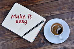 The words Make it easy on notebook Royalty Free Stock Photos