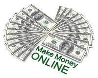 The words Make Money Online with dollars Royalty Free Stock Photography