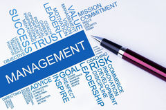 The words Management text cloud with a pen on isolated white Stock Images