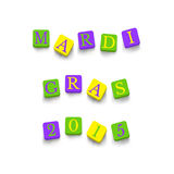 Words Mardi Gras 2015. With colorful blocks isolated on a white background. Description with bright cubes. Vector illustration EPS 10 royalty free illustration