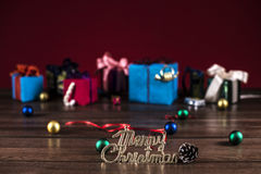 Words mary christmas and gift boxes Royalty Free Stock Image