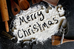 Words Merry Christmas Background Bordered by Vintage Baking Supp Stock Photography