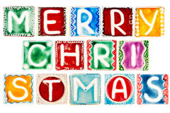 Words MERRY CHRISTMAS made from ceramic letters Royalty Free Stock Image