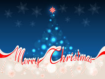 Merry Christmas background with space for text. The words Merry Christmas in red ribbon which separates the upper part with abstract Christmas tree on a blue Stock Photo