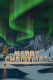 The words Merry Christmas sculpted in snow with auroras Stock Photography