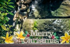 The words Merry Christmas on a wood surface with plumeria flowers and shells. Asian balinese style. The garden fountain on a backg Royalty Free Stock Image