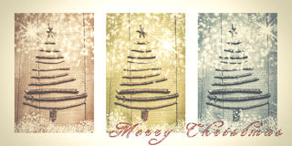 Words Merry Christmas written on snowy triptych in brown, green Royalty Free Stock Image