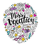 Words Miss Vacation. Vector inspirational quote with doodle ornament. stock illustration