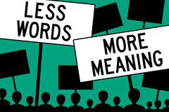 Less words more meaning Stock Image