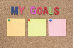 Words my goals with notepad Stock Image