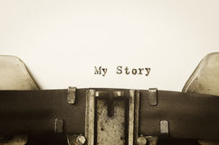 Words my story  written on typewriter Royalty Free Stock Photography