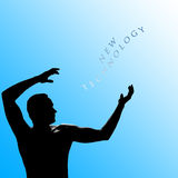 Words new technology written. Shadow of a man pointing on inscription on blue background Royalty Free Stock Image