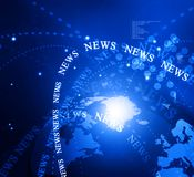 Words News. On digital blue background Royalty Free Stock Photography