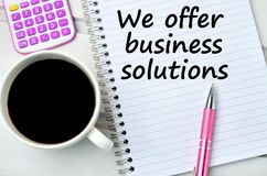 The words We offer business solutions Stock Photos