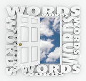 Words Open Door Bright Future Choose Right Language Writing Best Royalty Free Stock Image