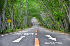 Words of opportunity and development on road Stock Photos