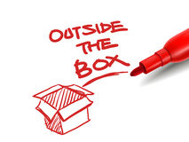 The words outside the box with a red marker Royalty Free Stock Photography