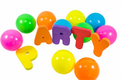 The words PARTY with balls Stock Photo