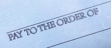 Words `Pay To The Order Of` On A Chek - Close Up Royalty Free Stock Photo
