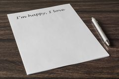 Letter to a loved one. Words, phrase, letter about great feelings for a loved one. Desire to express your emotions. Search for the main words royalty free stock photography