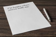Letter to a loved one. Words, phrase, letter about great feelings for a loved one. Desire to express your emotions. Search for the main words royalty free stock images
