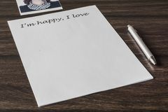 Letter to a loved one. Words, phrase, letter about great feelings for a loved one. Desire to express your emotions. Search for the main words stock photography