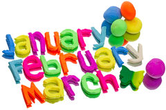 Words from plasticine (January, February, March) Royalty Free Stock Photography
