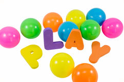 The words PLAY with balls Royalty Free Stock Photos