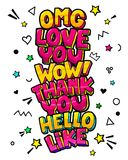 Words in pop art comics style. Omg. Love you. Wow. Thank You. Hello and Like stock illustration