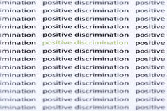 Words 'positive discrimination' surrounded by similar text Royalty Free Stock Image