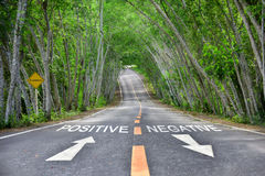 Words of positive and negative on road. Words of positive and negative with white arrow and yellow line marking on road surface Stock Photography