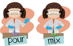 Words pour and mix with girl doing experiment. Illustration vector illustration