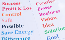 Words print out for business Royalty Free Stock Image