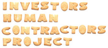 The words project made of cookies. The words: investors, human, contractors, project made of cookies Stock Images