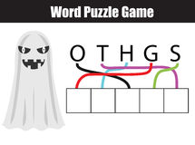 Words puzzle children educational game with letters maze. Place the in right order. vector illustration