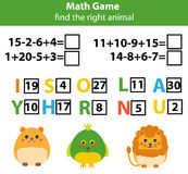 Words puzzle children educational game with mathematics equations. Counting and letters game. Learning numbers and vocabulary Stock Image