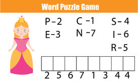 Words puzzle children educational game with numbers code. Place the letters in right order. Learning vocabulary and numbers. Printable worksheet Royalty Free Stock Image