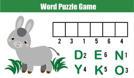 Words puzzle children educational game with numbers code.   Stock Images