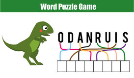 Words puzzle children educational game. Place the letters in right order. Learning vocabulary Royalty Free Stock Photos