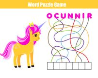 Words puzzle children educational game. Place the letters in right order. Learning vocabulary. Animals theme