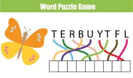 Words puzzle children educational game. Place the letters in right order. Learning vocabulary. And animals theme. Printable worksheet for pre school years kids Stock Photo