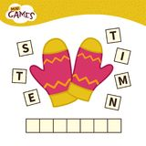 Kids educational game. Words puzzle children educational game. Place the letters in right order. Learning vocabulary. Cartoon mittens vector illustration