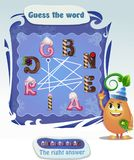 Words puzzle  gingerbread. Words puzzle educational Christmas game for children and adults. Task: guess the word.  Place the letters in right order. Right answer Stock Photography