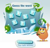 Guess the word cracker. Words puzzle educational Christmas game for children and adults. Task: guess the word.  Place the letters in right order. Right answer Stock Photo