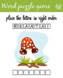 Words puzzle game with amanita. Place the letters in right order. Learning vocabulary. Educational game for children. Words puzzle game with amanita. Place the Royalty Free Stock Image