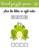Words puzzle game with cartoon frog. Place the letters in right order. Learning vocabulary. Educational game for children. Words puzzle game with frog. Place the Royalty Free Stock Image