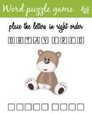 Words puzzle game with cartoon teddy bear. Place the letters in right order. Learning vocabulary. Educational game for children. Words puzzle game with teddy Stock Image