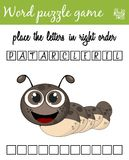 Words puzzle game with caterpillar. Place the letters in right order. Learning vocabulary. Educational game for children. Words puzzle game with caterpillar Royalty Free Stock Photo